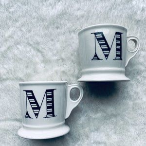 Anthropologie Monogram Letter M Shaving Style Mugs